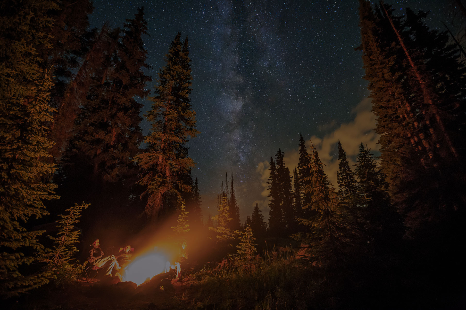 Family stargazing by a campfire