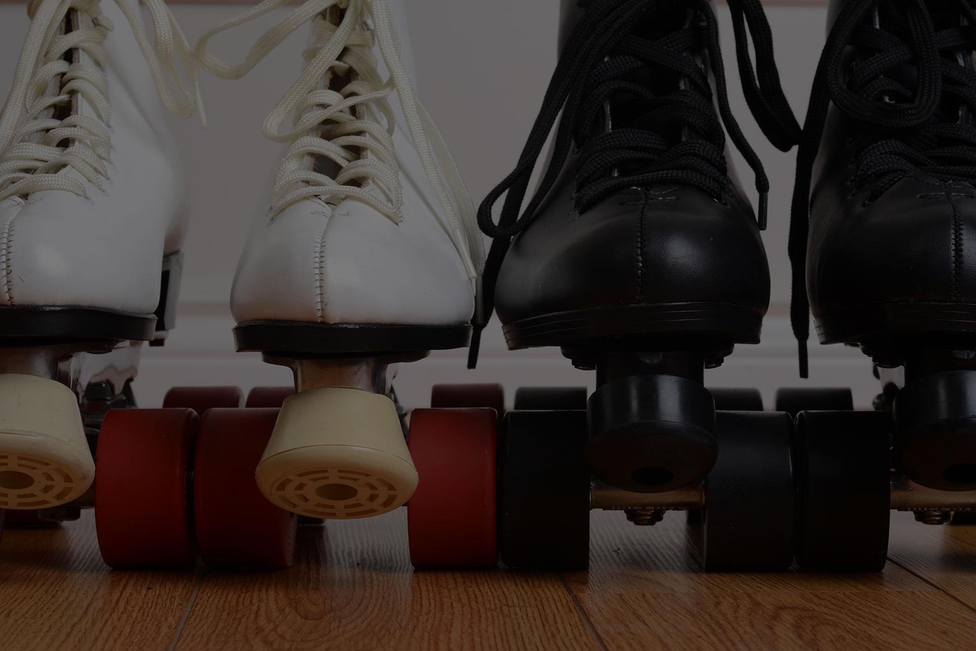 closeup front view quad roller skates